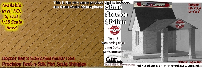 S Scale Precision Peel-n-Stik Shingles Doctor Ben's Scale Consortium S/Sn3/Sn2/1:64