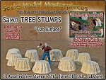 Sawn Tree Stumps-Assorted Flat Surface (10pcs) Scale Model Masterpieces HO/1:87